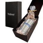 Soft Touch Gift Box with Vacuum Tumbler and Nonpareil Chocolate Covered Pretzels