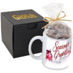 Soft Touch Gift Box with Full Color Mug and Chocolate Covered Pretzels