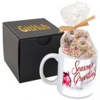 Soft Touch Gift Box with Full Color Mug and Nonpareil Chocolate Covered Pretzels