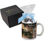 Soft Touch Gift Box with Full Color Mug and Dark Chocolate Almonds Mug Drop