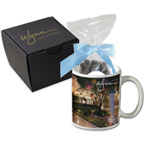 Soft Touch Gift Box with Full Color Mug and Dark Chocolate Espresso Beans Mug Drop