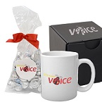 Soft Touch Gift Box with Full Color Mug and Hershey Kisses Mug Drop