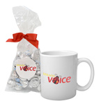 Soft Touch Gift Box with Full Color Mug and Milk Chocolate Pretzels Mug Drop