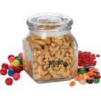 "3 3/4"" Square Glass Jar with Candy Fills"