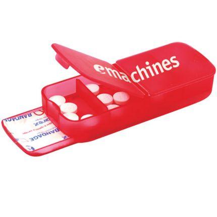 Plastic Bandage Dispenser with Pill Case