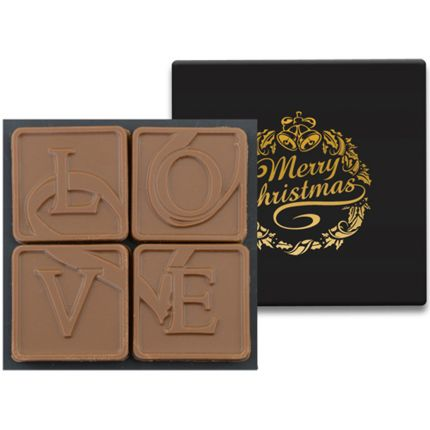 4 Chocolate Squares in Modern Gift Box