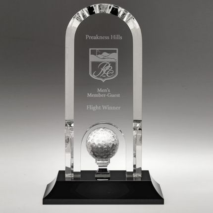 Arch Shaped Award Golf Ball on Pedestal 8""