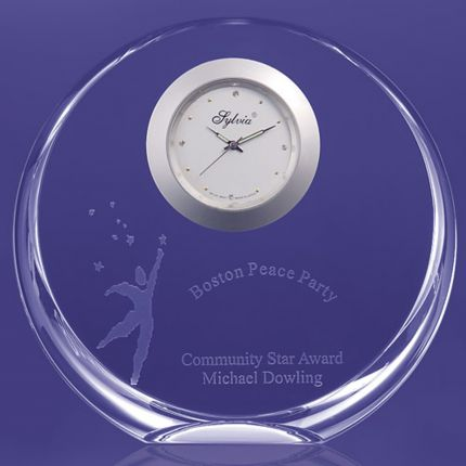 Circular Award Flat Bottom With Clock