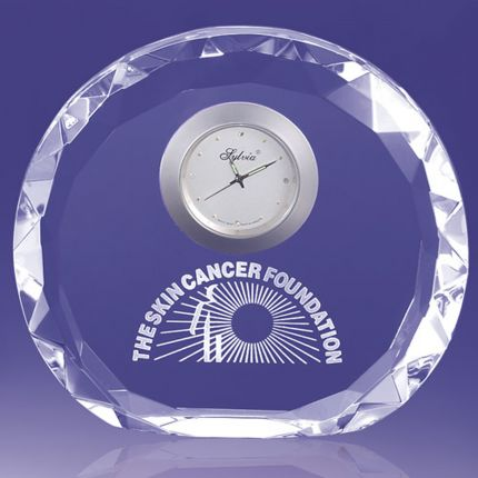 Faceted Edged Circular Award With Clock
