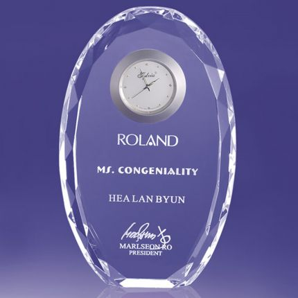 Faceted Edged Oval Award With Clock