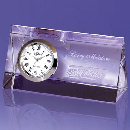 Wedge Shaped Award Imbedded Clock
