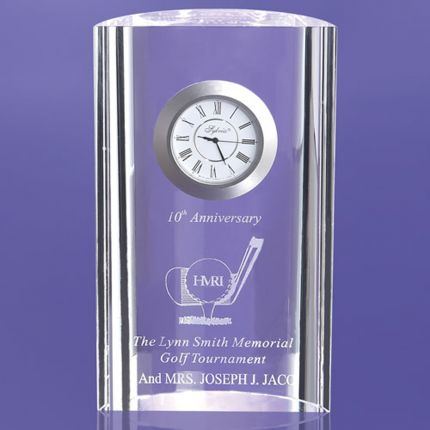 Crescent Shaped Award Imbedded Clock 6""