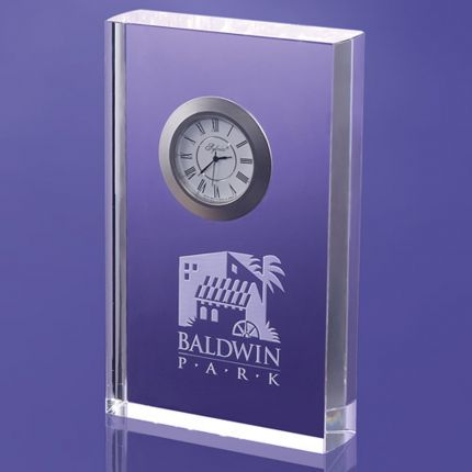 Rectangular Award Imbedded Clock 6""