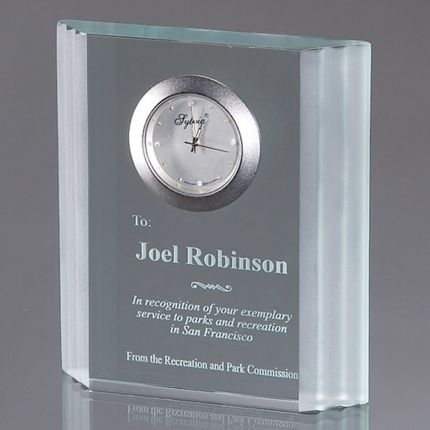 Rectangular Waterfall Edged Clock Award